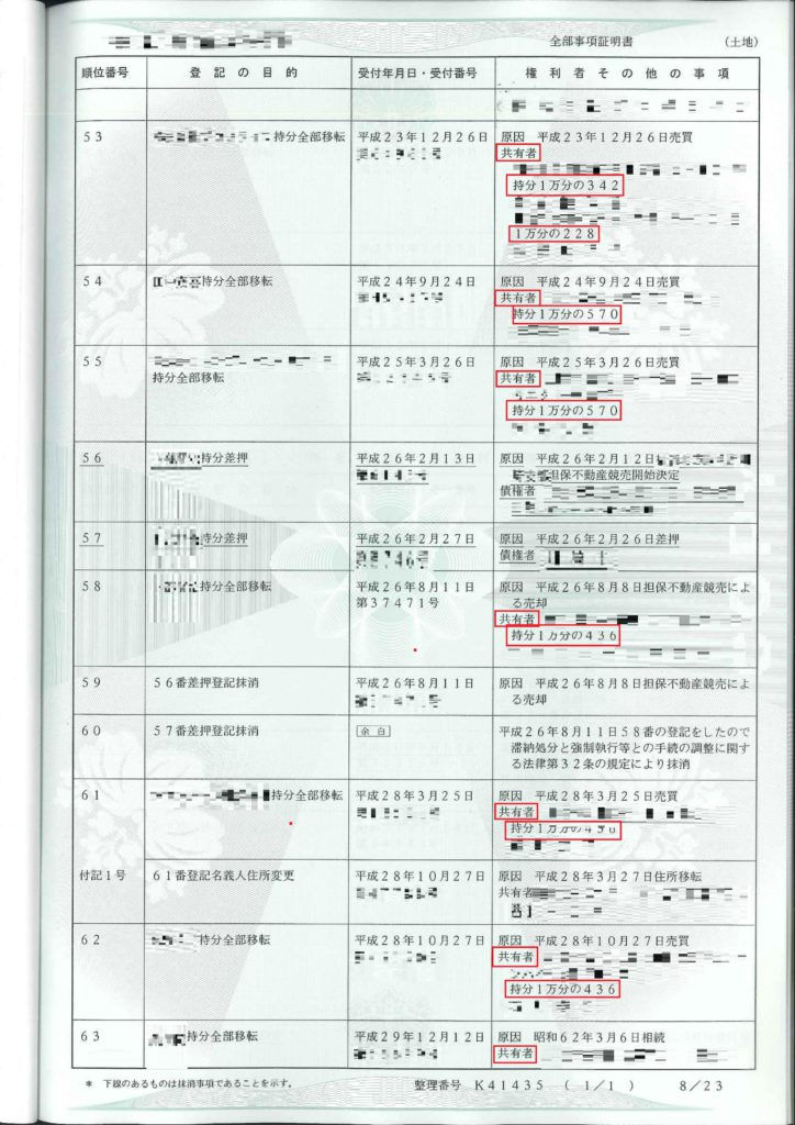 敷地の登記簿謄本